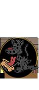 Kreskówkowy pies który liza jedzenie z miski