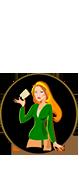 Kreskówkowa kobieta która trzyma kartkę