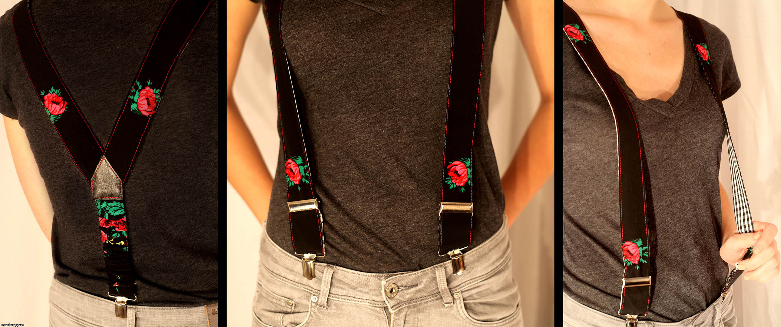 Handcrafted black suspenders