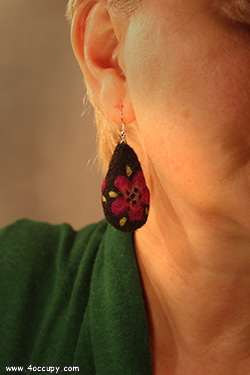 Handcrafted felt earrings for sale.