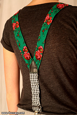 Handcrafted green suspenders for sale.