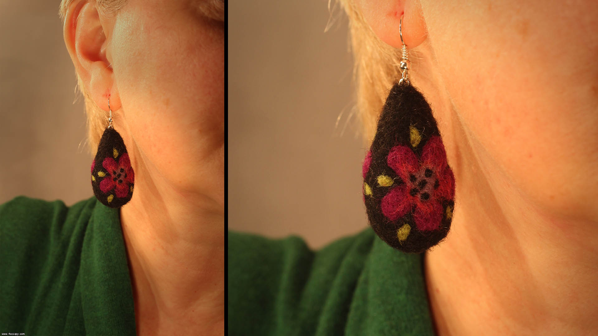 Handcrafted felt earrings