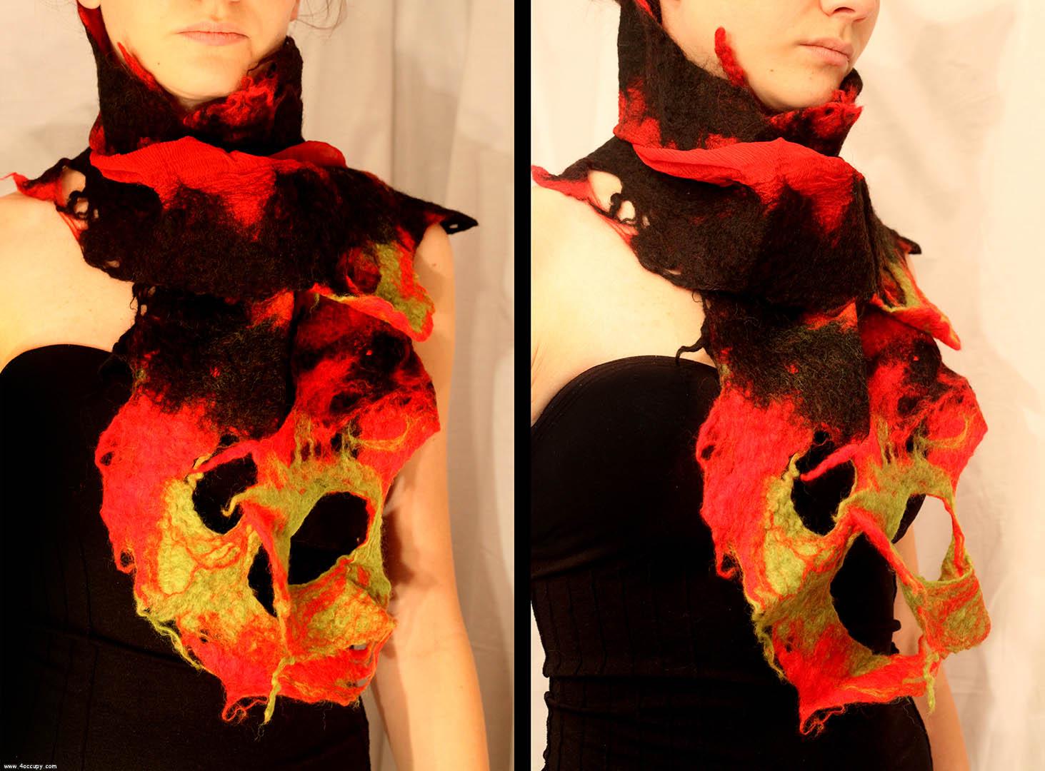 Handcrafted nuno-felt shawl