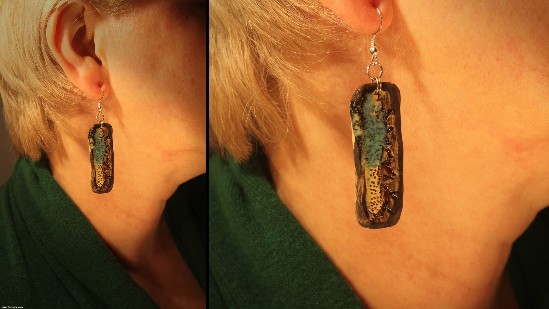 Handcrafted oblong ceramic earrings