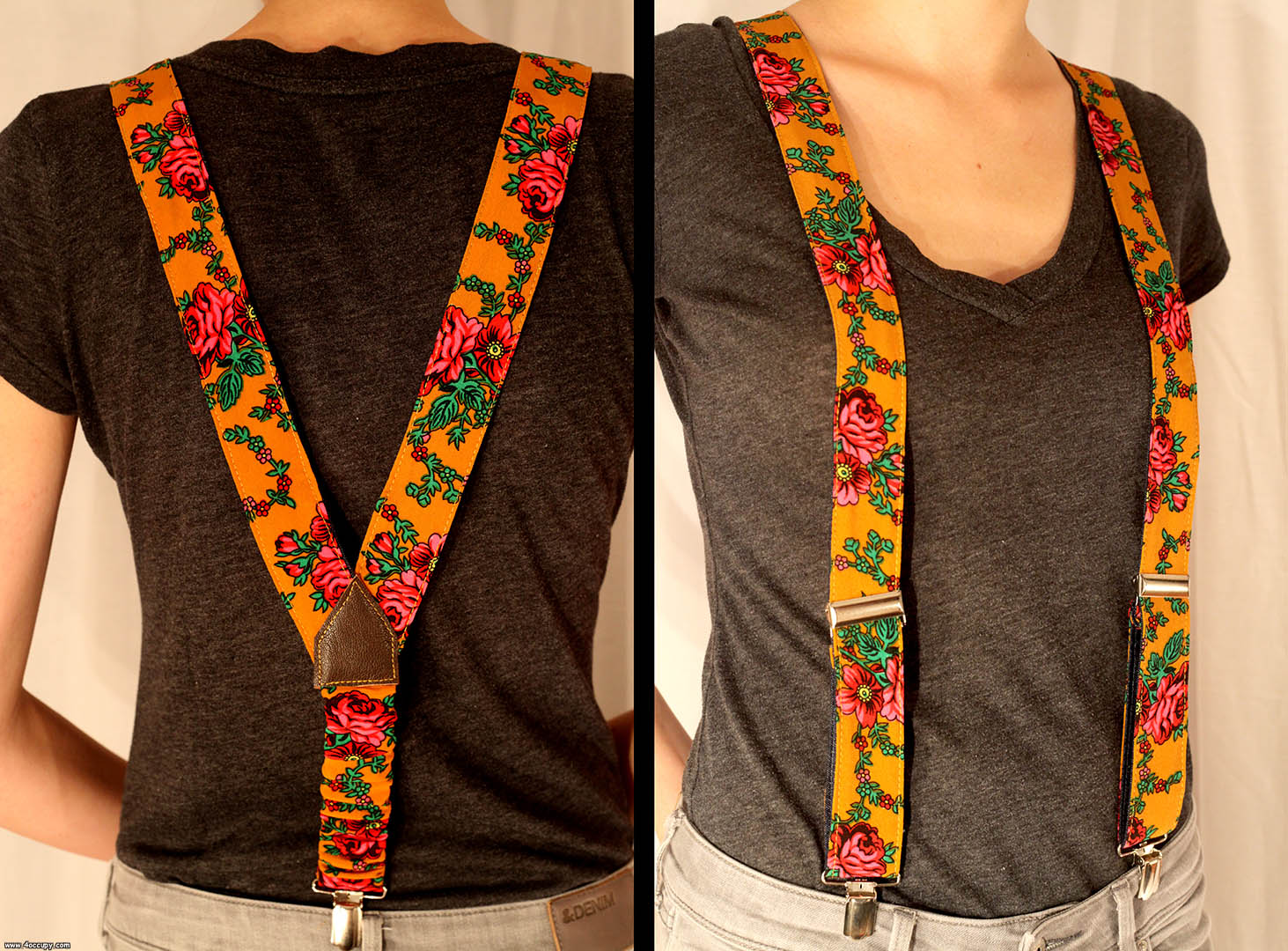 Handcrafted orange suspenders