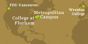 A map showing FDU's campuses in New Jersey, Canada & England