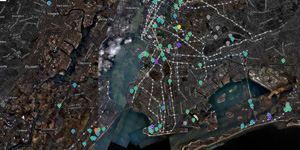 An overlay of Occupy Sandy recovery locations over NOAA's aerial imagery of affected areas