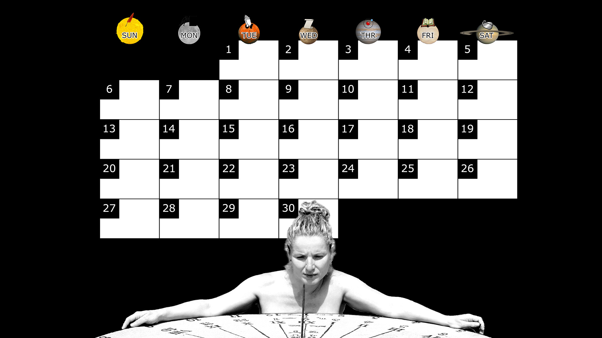A monthly desktop calendar for April 2014 with a black background