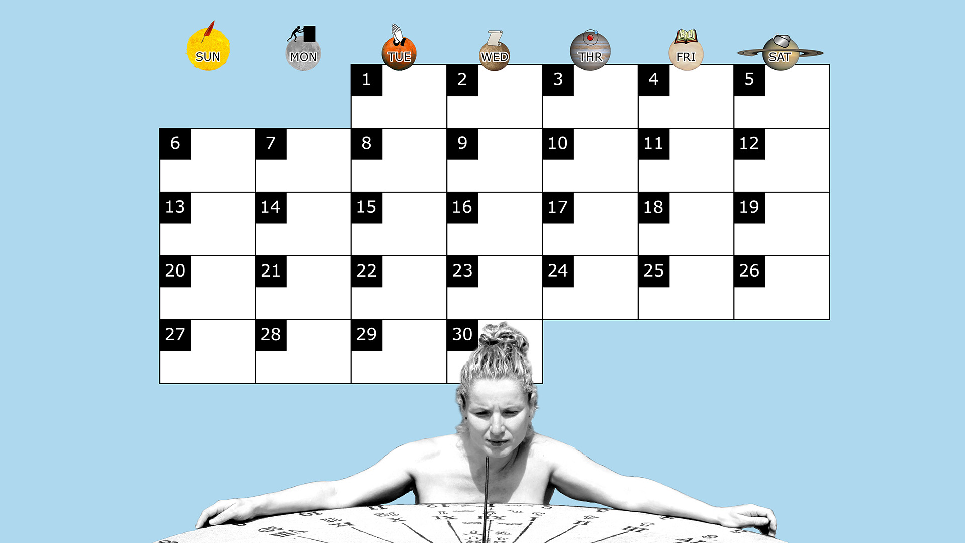 A monthly desktop calendar for April 2014 with a blue background