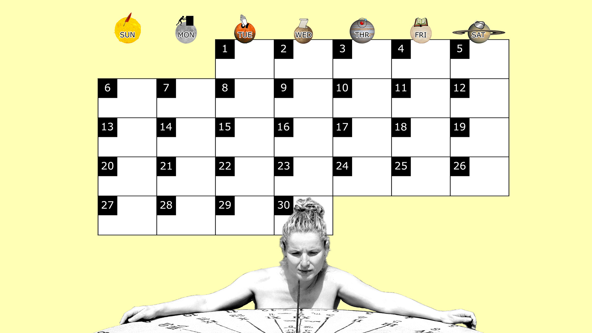 A monthly desktop calendar for April 2014 with a yellow background