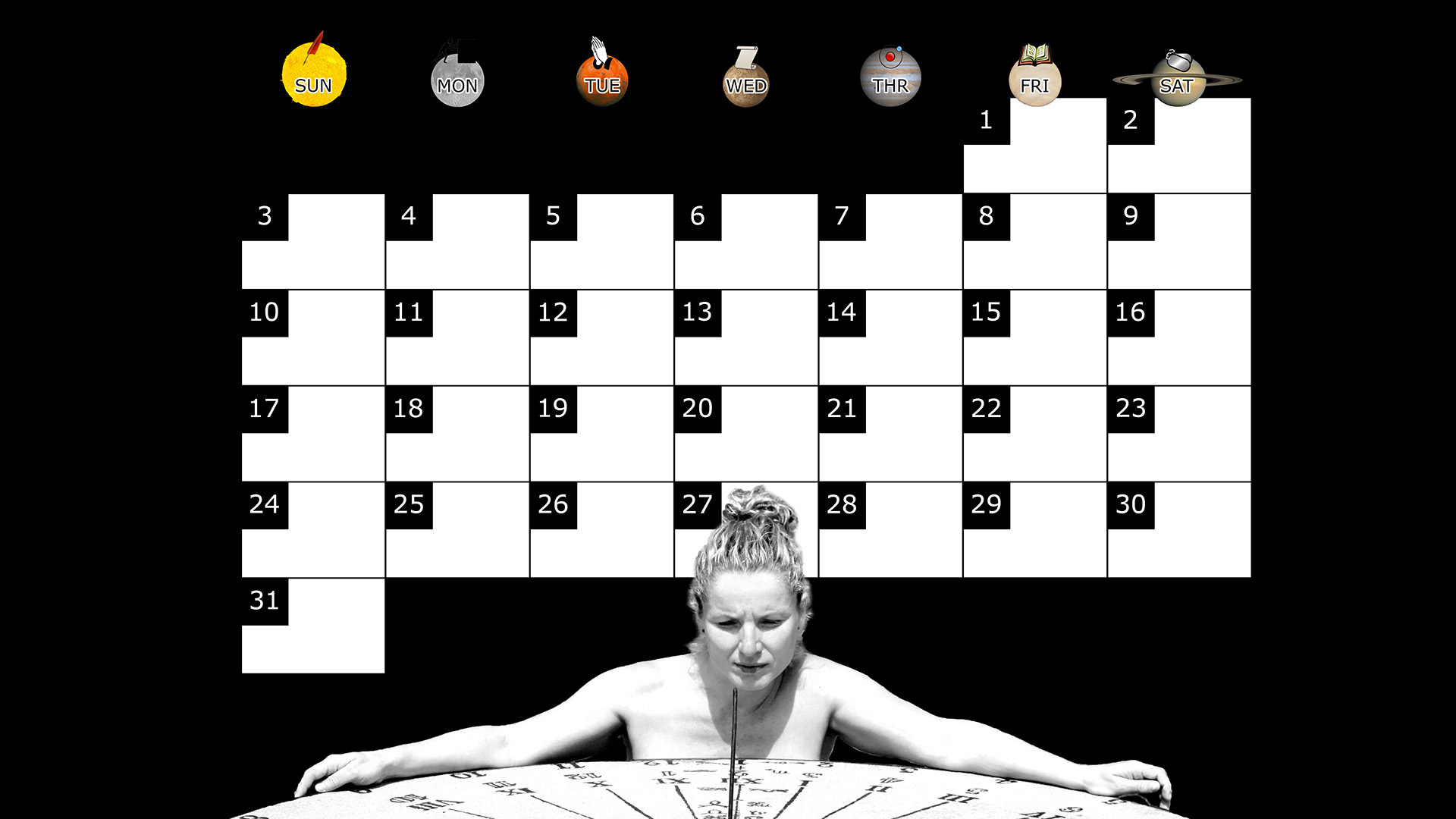 A monthly desktop calendar for August 2014 with a black background