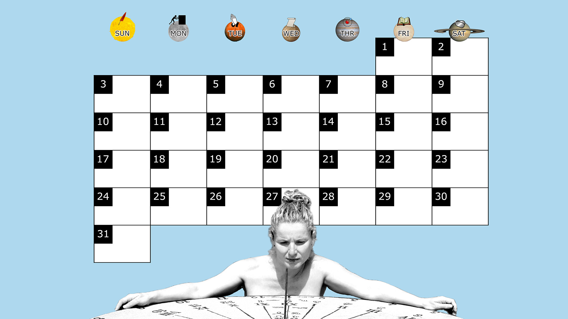 A monthly desktop calendar for August 2014 with a blue background
