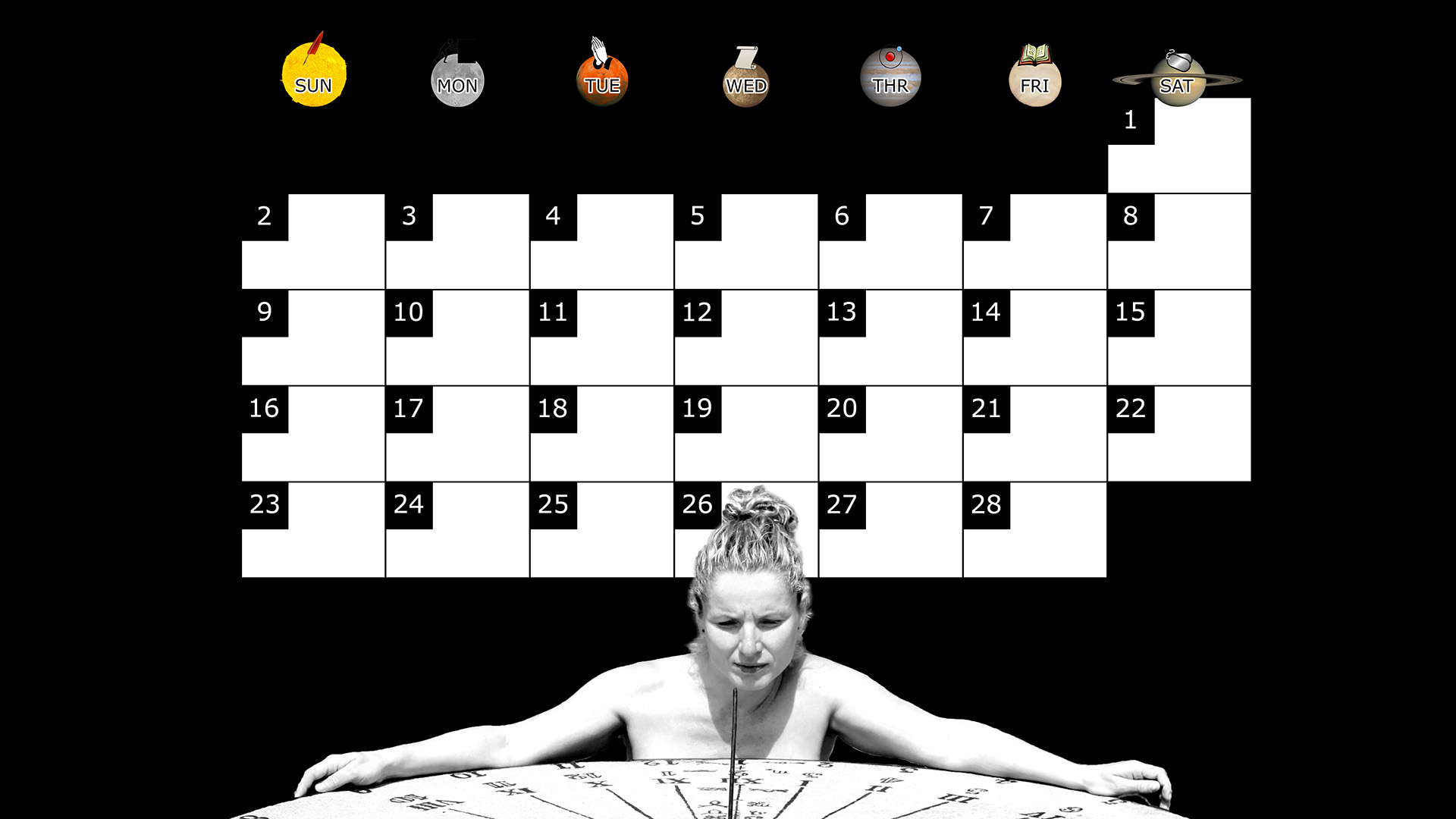 A monthly desktop calendar for February 2014 with a black background