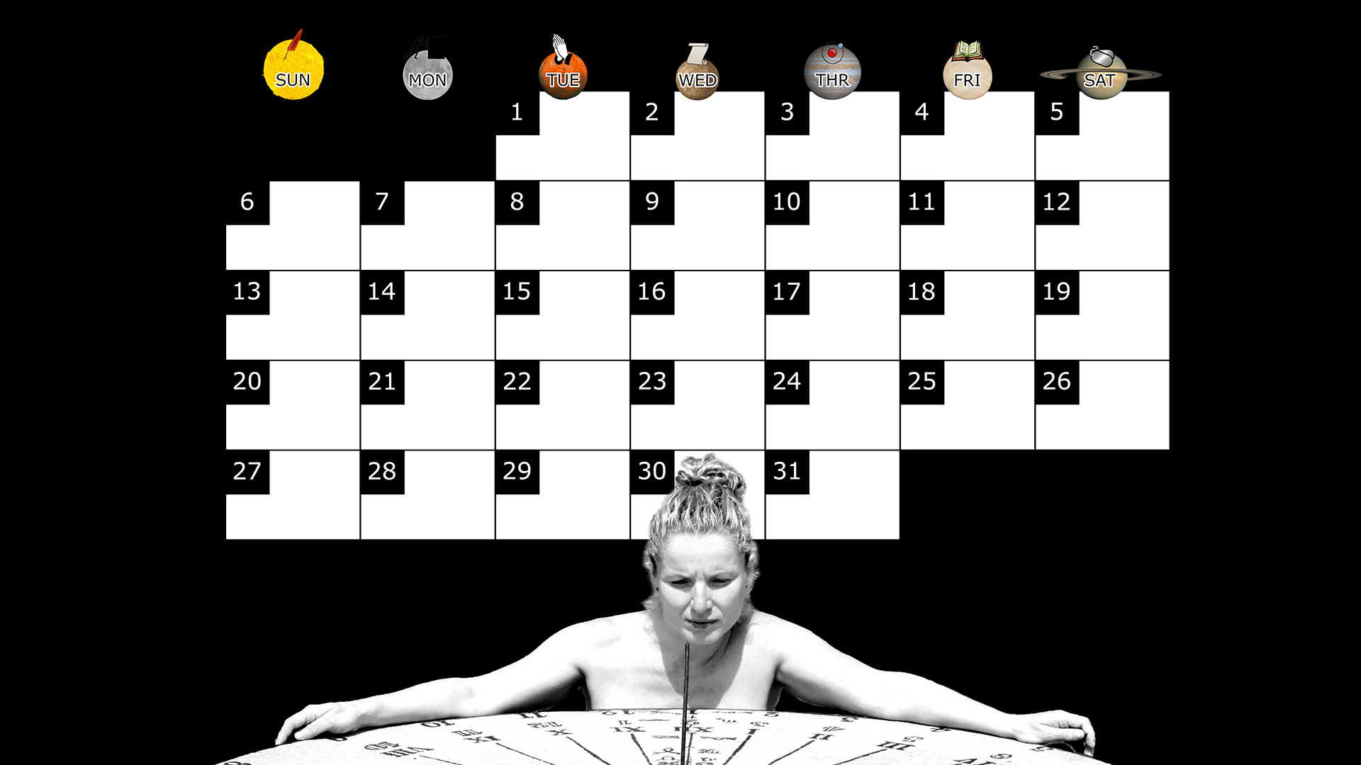 A monthly desktop calendar for July 2014 with a black background