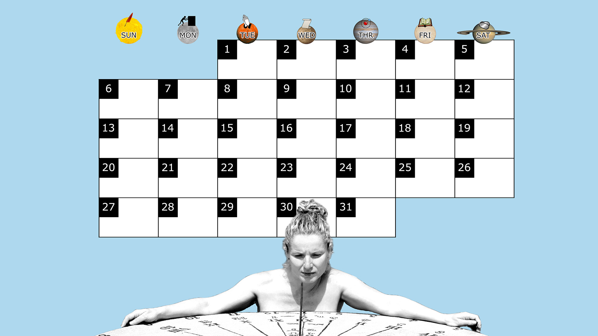 A monthly desktop calendar for July 2014 with a blue background