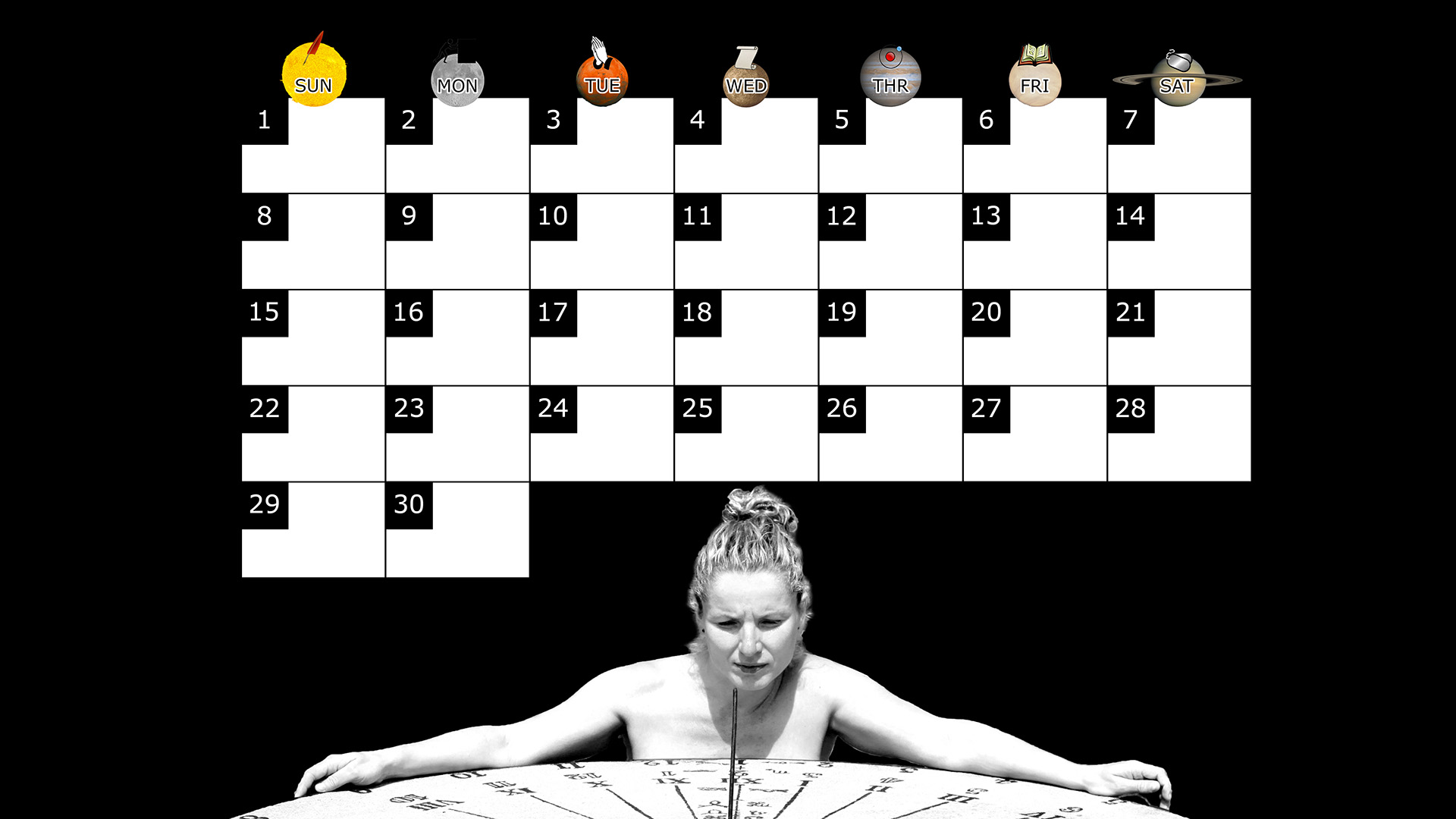 A monthly desktop calendar for June 2014 with a black background