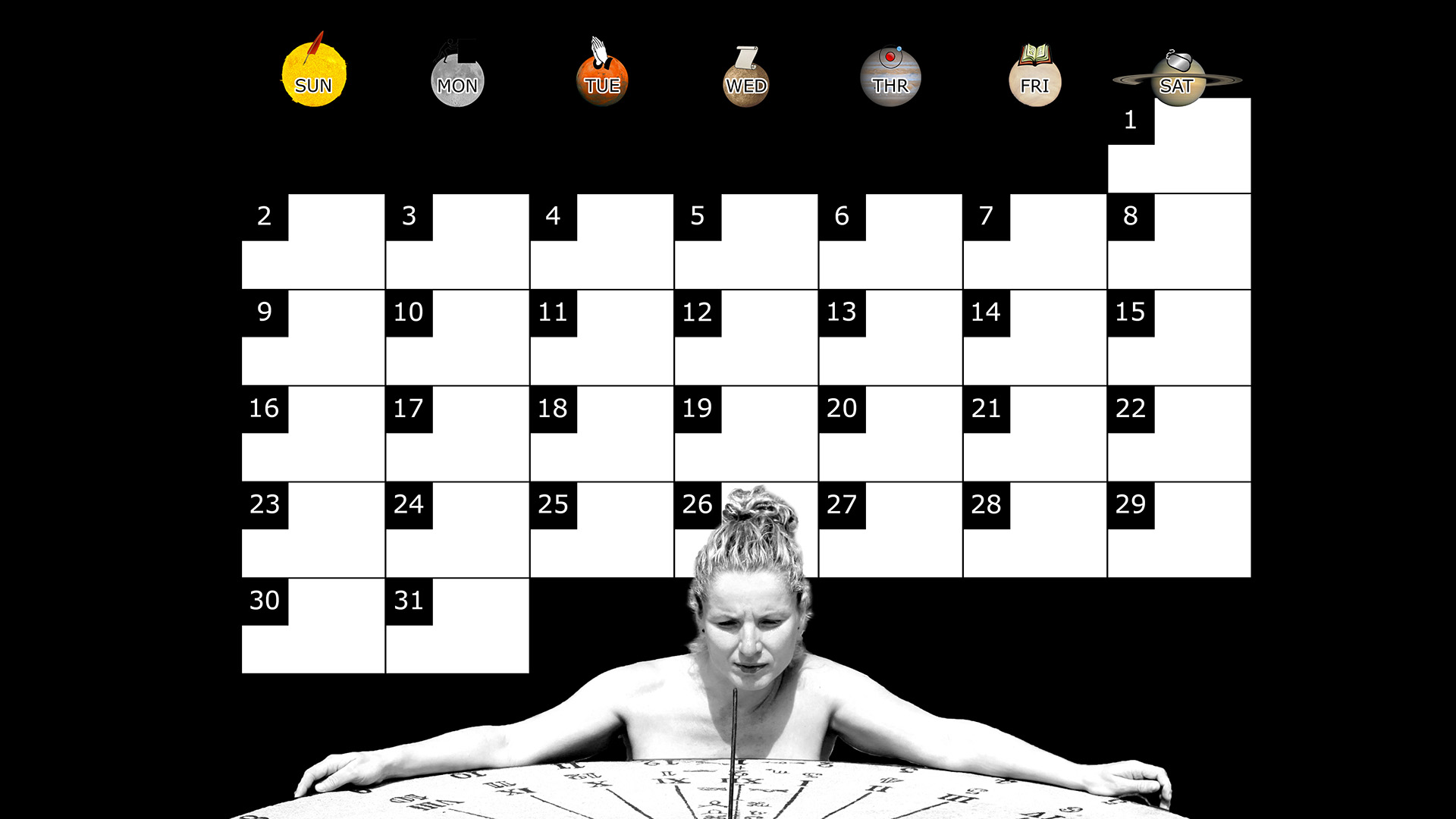 A monthly desktop calendar for March 2014 with a black background