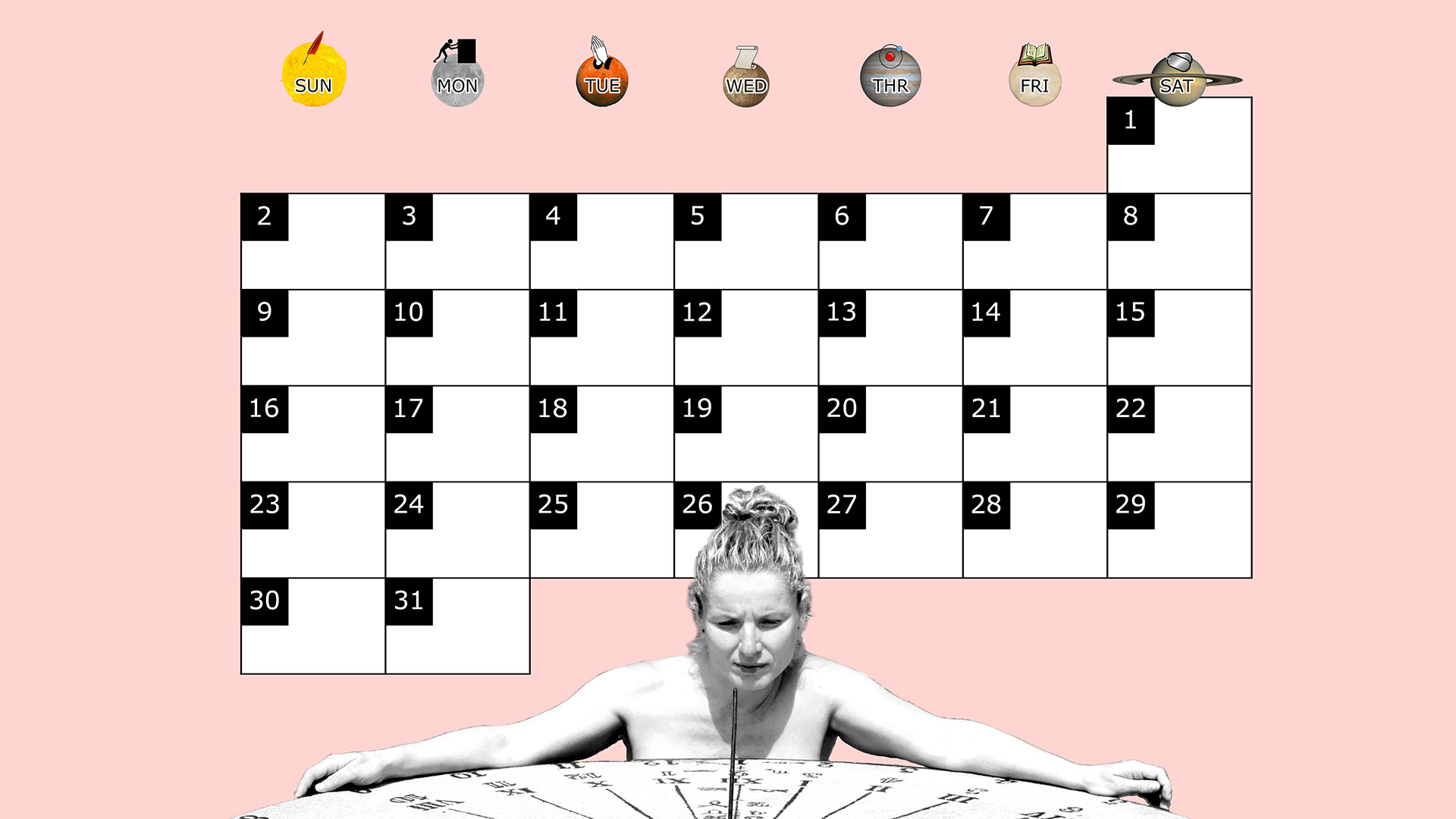 A monthly desktop calendar for March 2014 with a pink background
