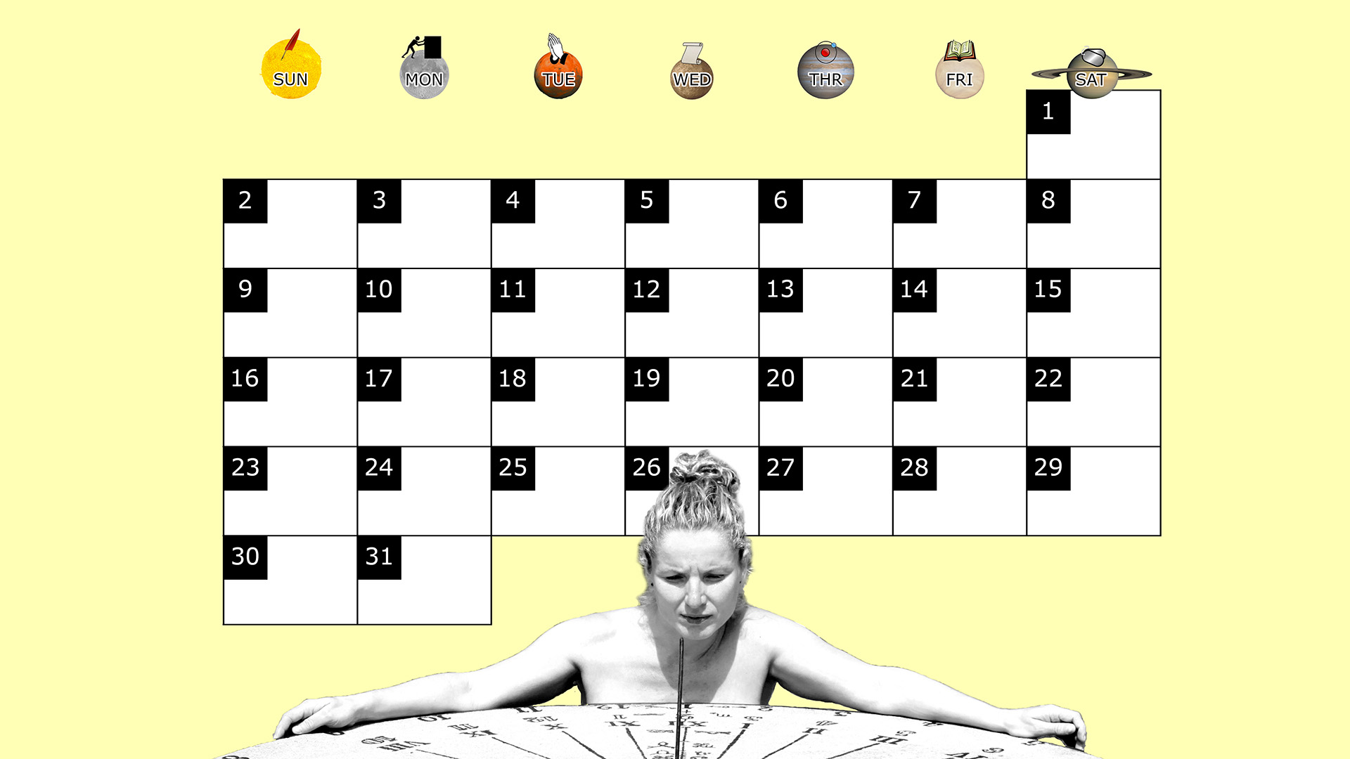A monthly desktop calendar for March 2014 with a yellow background