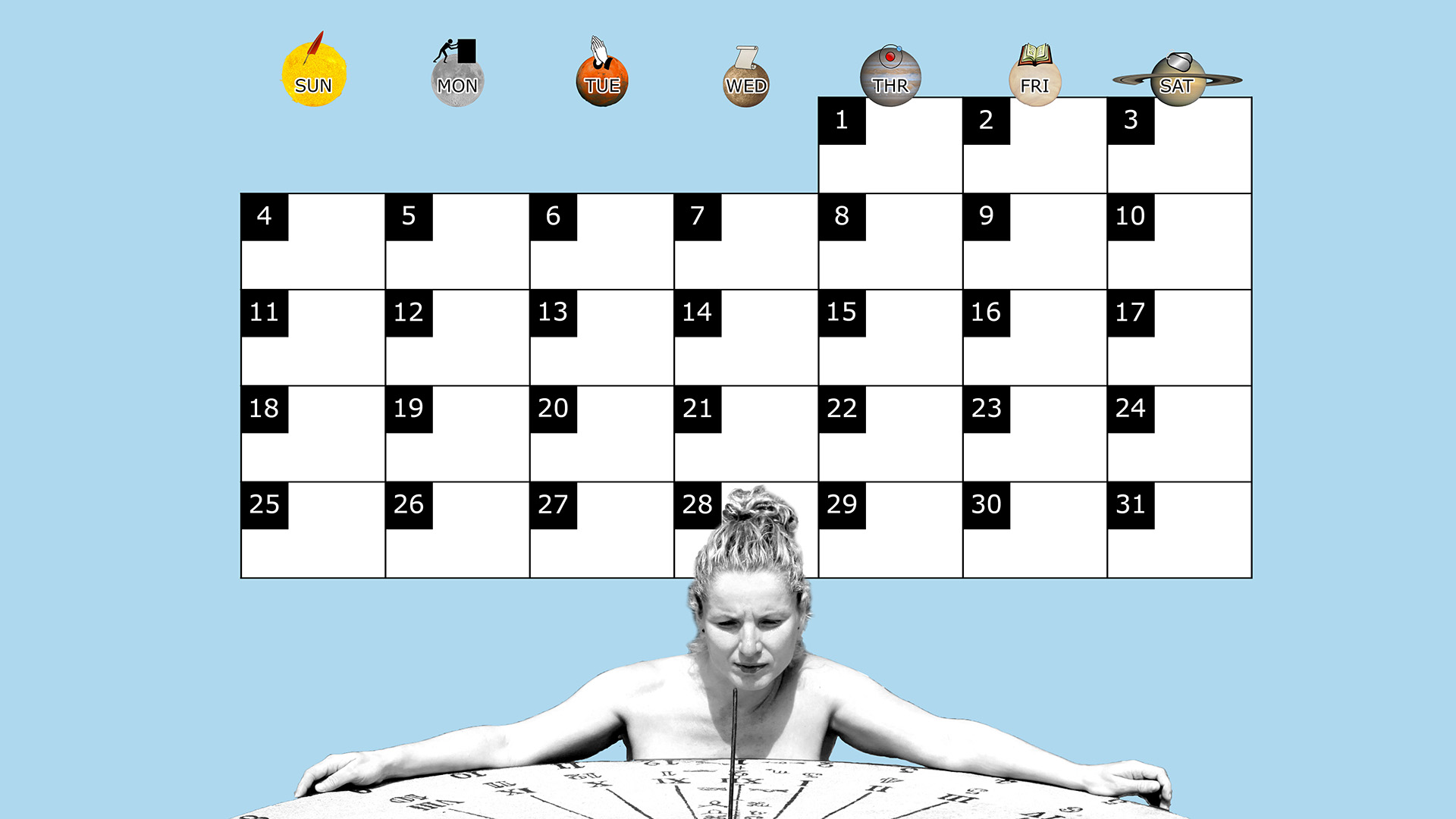 A monthly desktop calendar for May 2014 with a blue background