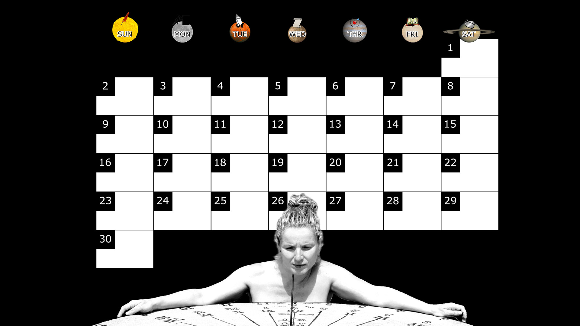 A monthly desktop calendar for November 2014 with a black background