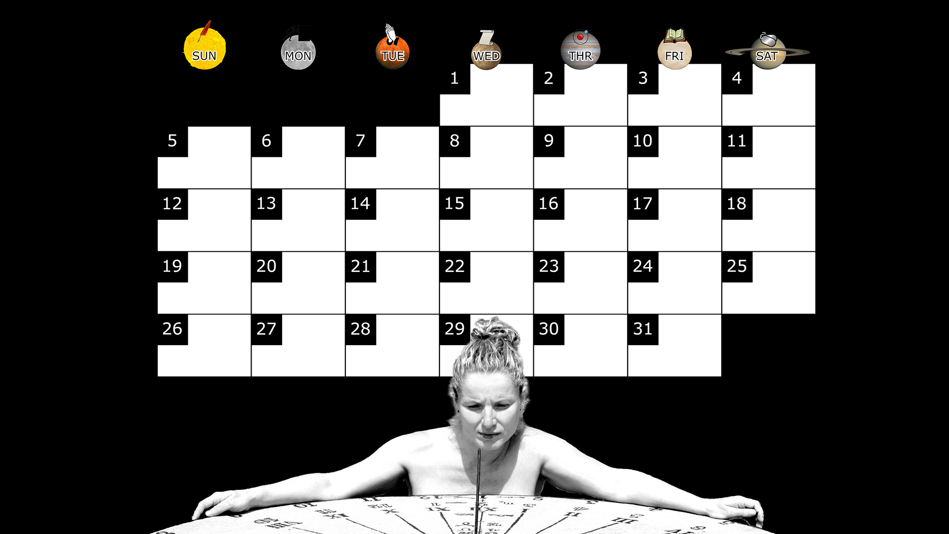A monthly desktop calendar for October 2014 with a black background