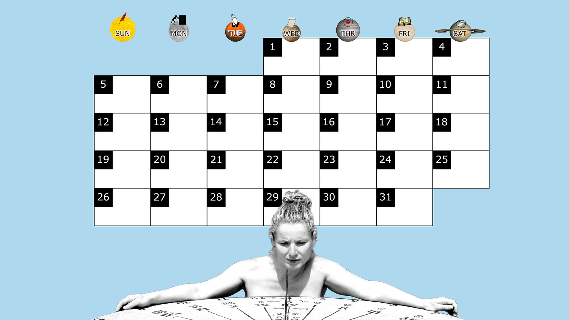 A monthly desktop calendar for October 2014 with a blue background