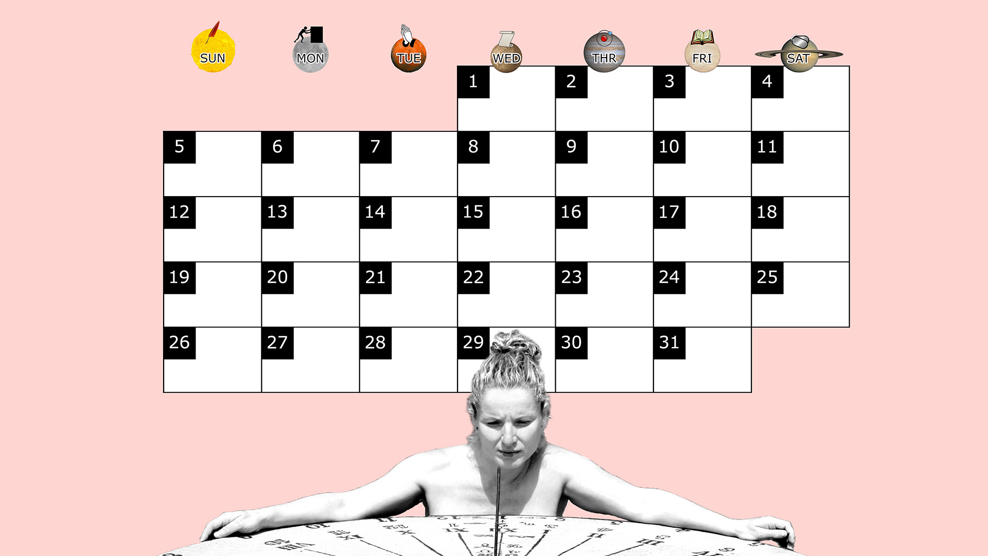 A monthly desktop calendar for October 2014 with a pink background