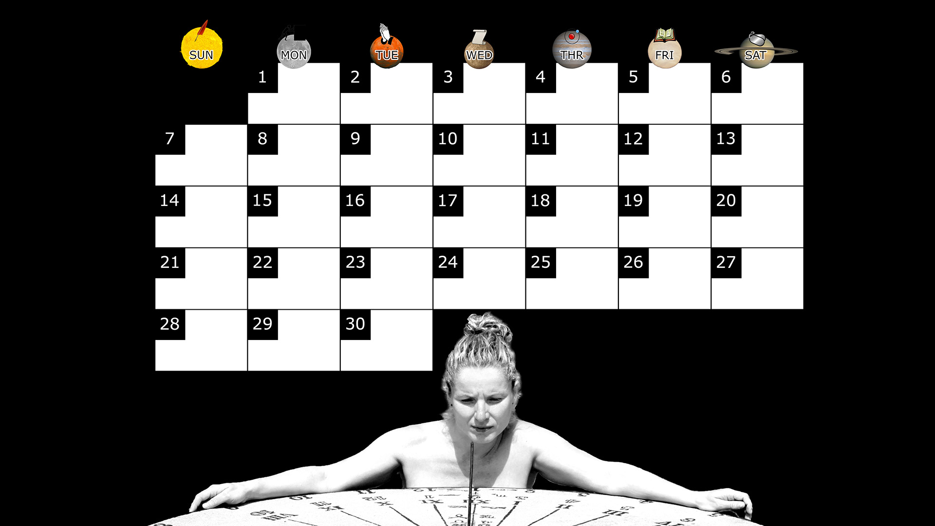 A monthly desktop calendar for September 2014 with a black background