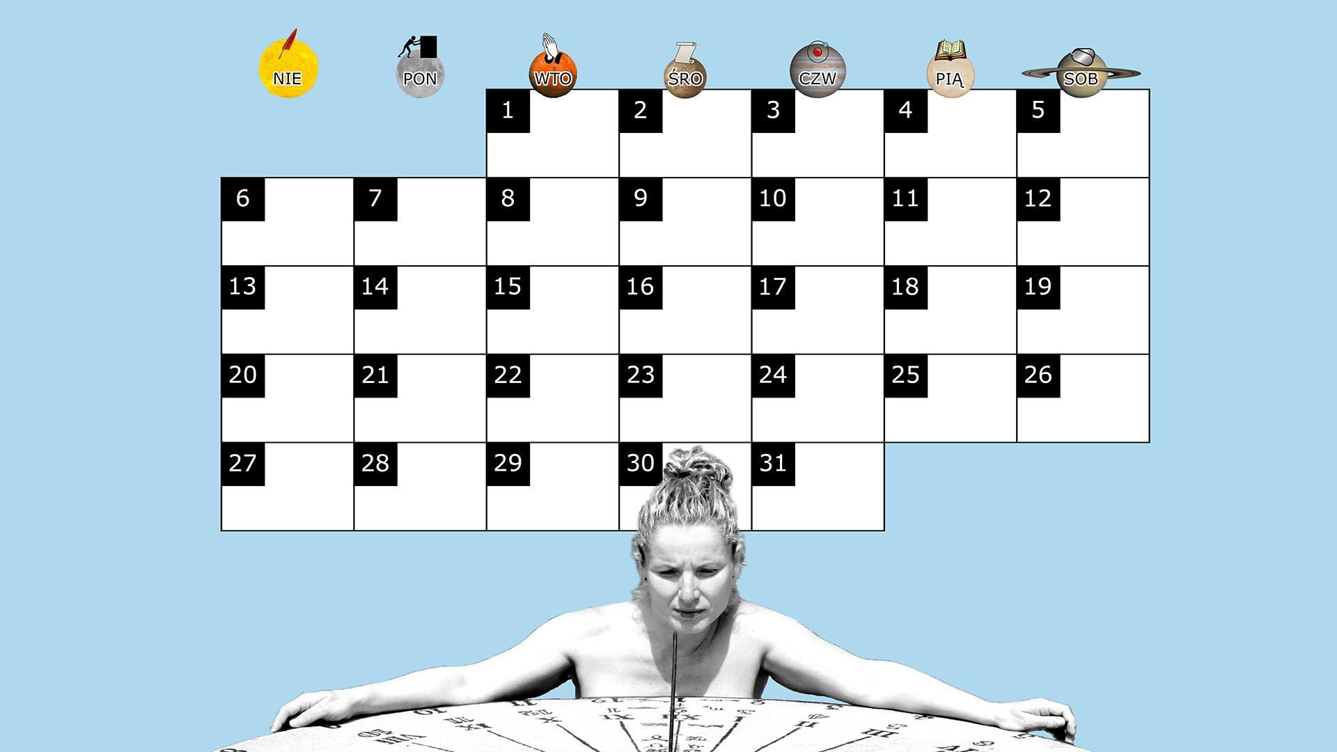 Miesięczny kalendarz na pulpit na październik 2013 na niebieskim tle