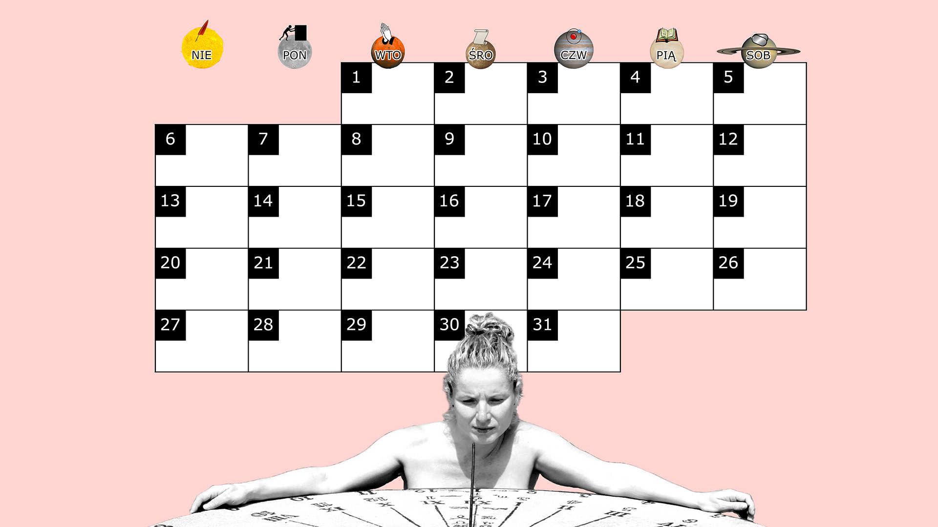 Miesięczny kalendarz na pulpit na październik 2013 na różowym tle