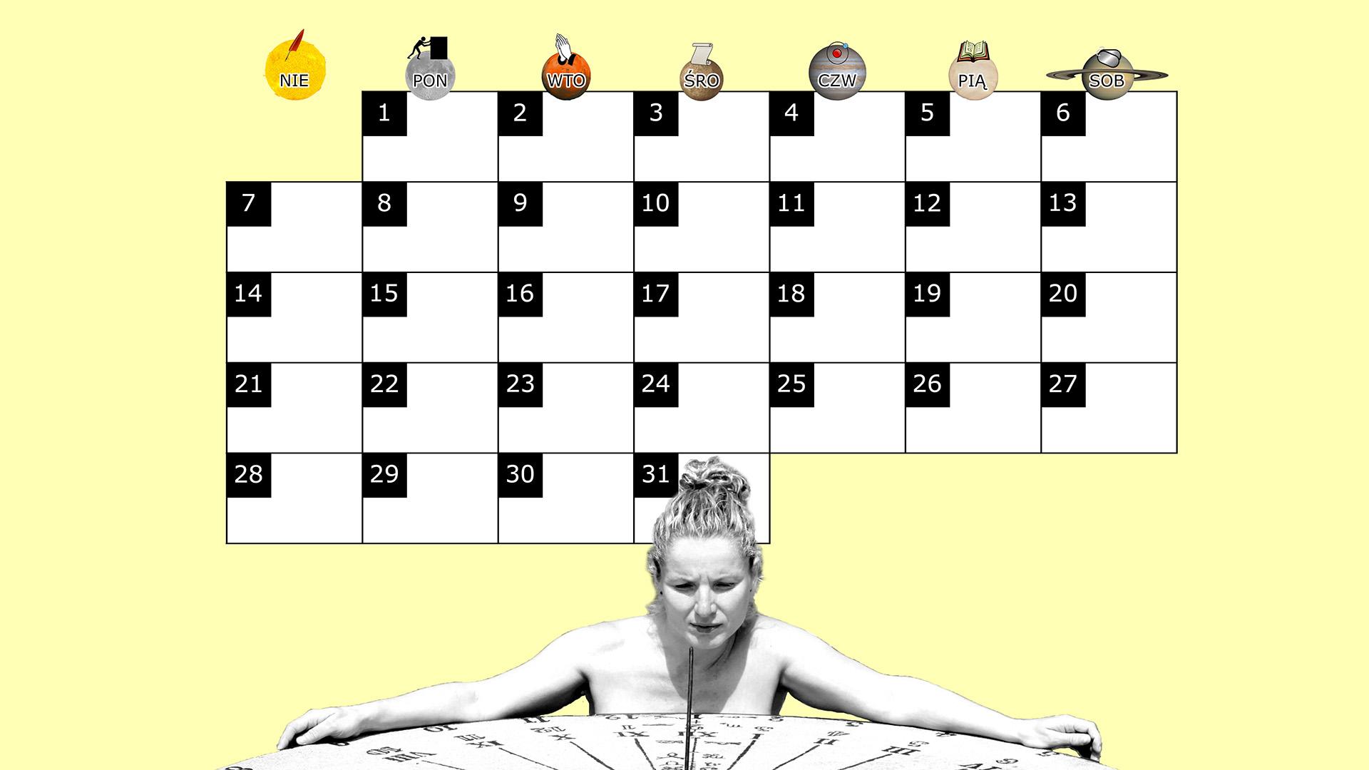 Miesięczny kalendarz na pulpit na grudzień 2014 na żółtym tle