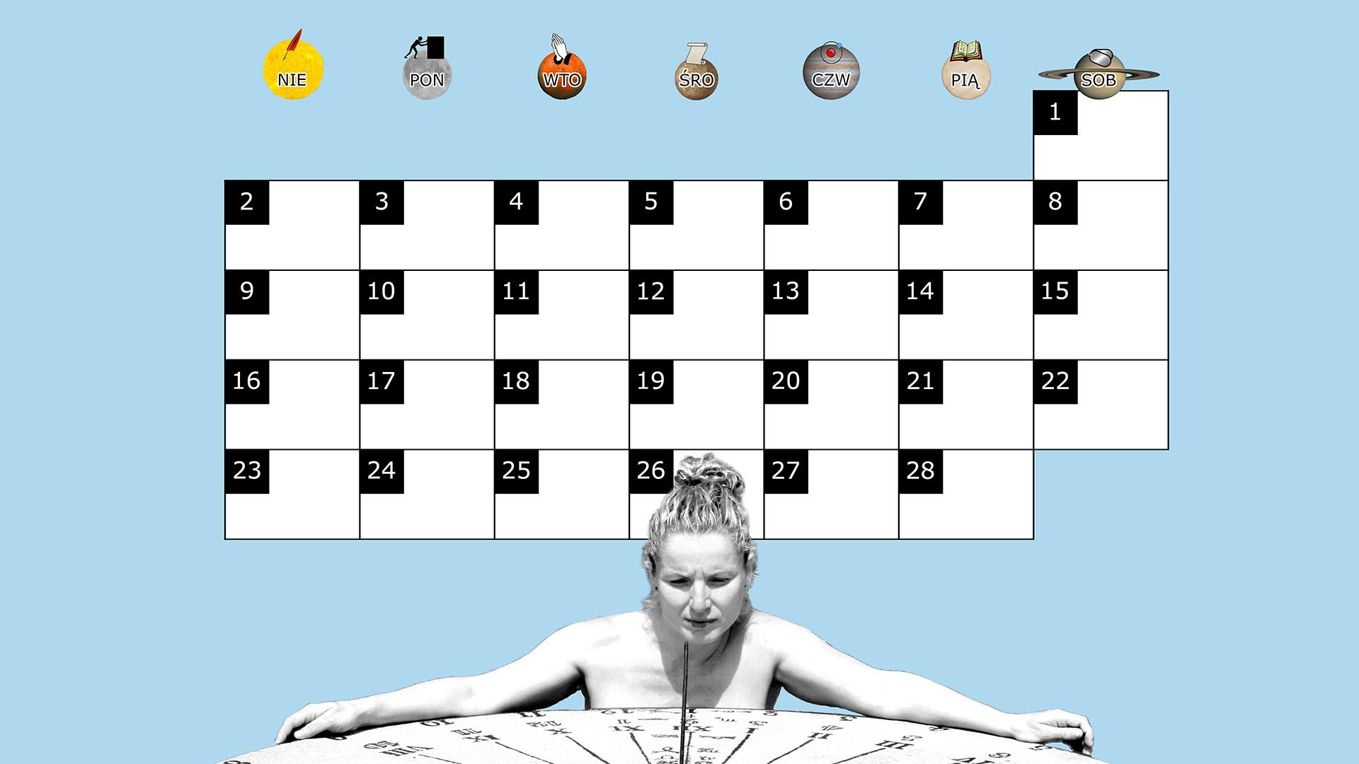 Miesięczny kalendarz na pulpit na luty 2014 na niebieskim tle