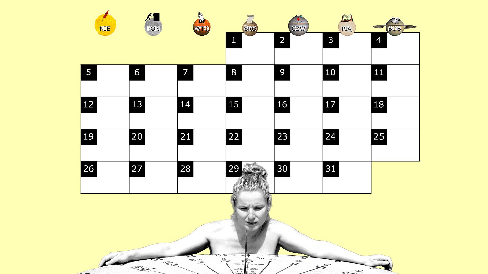Miesięczny kalendarz na pulpit na październik 2014 na żółtym tle