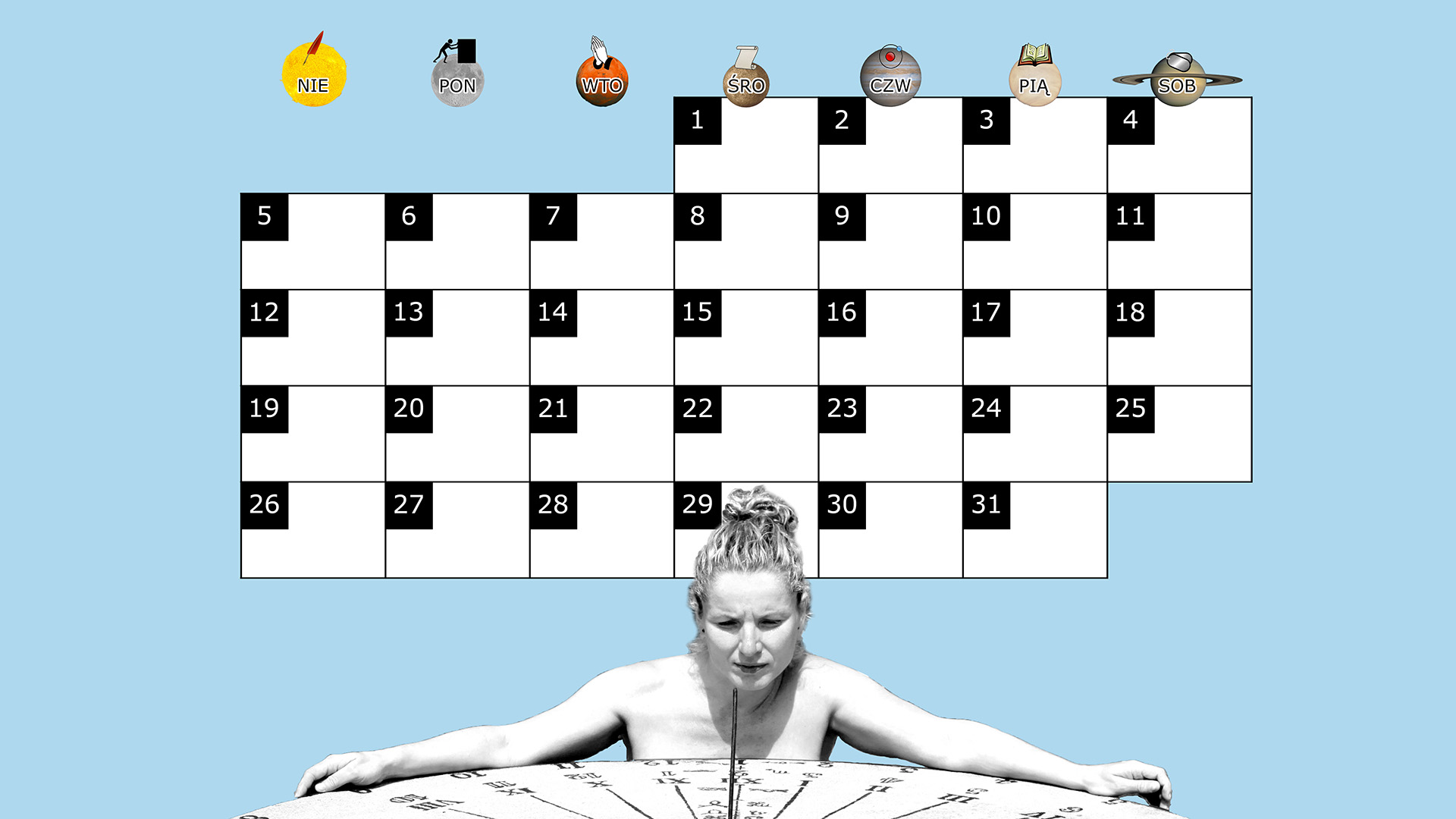 Miesięczny kalendarz na pulpit na styczeń 2014 na niebieskim tle