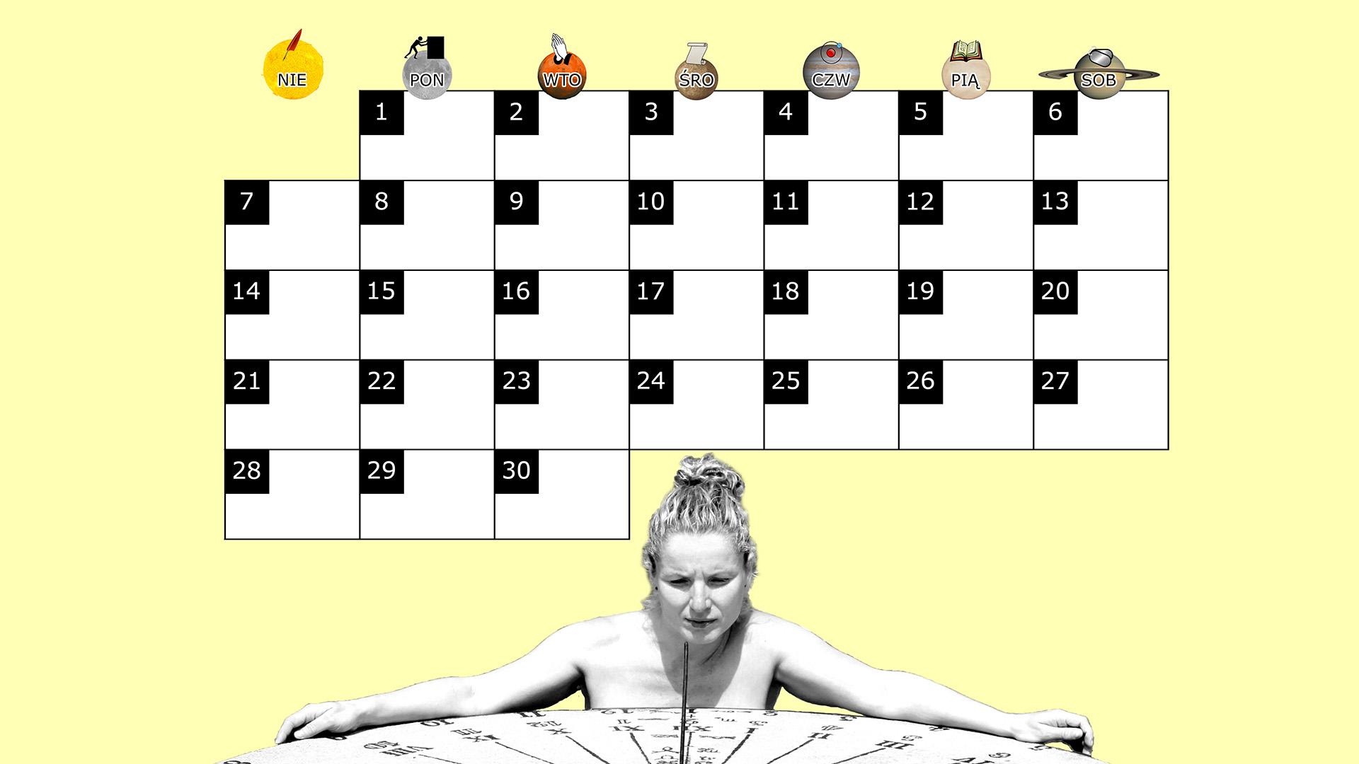 Miesięczny kalendarz na pulpit na wrzesień 2014 na żółtym tle
