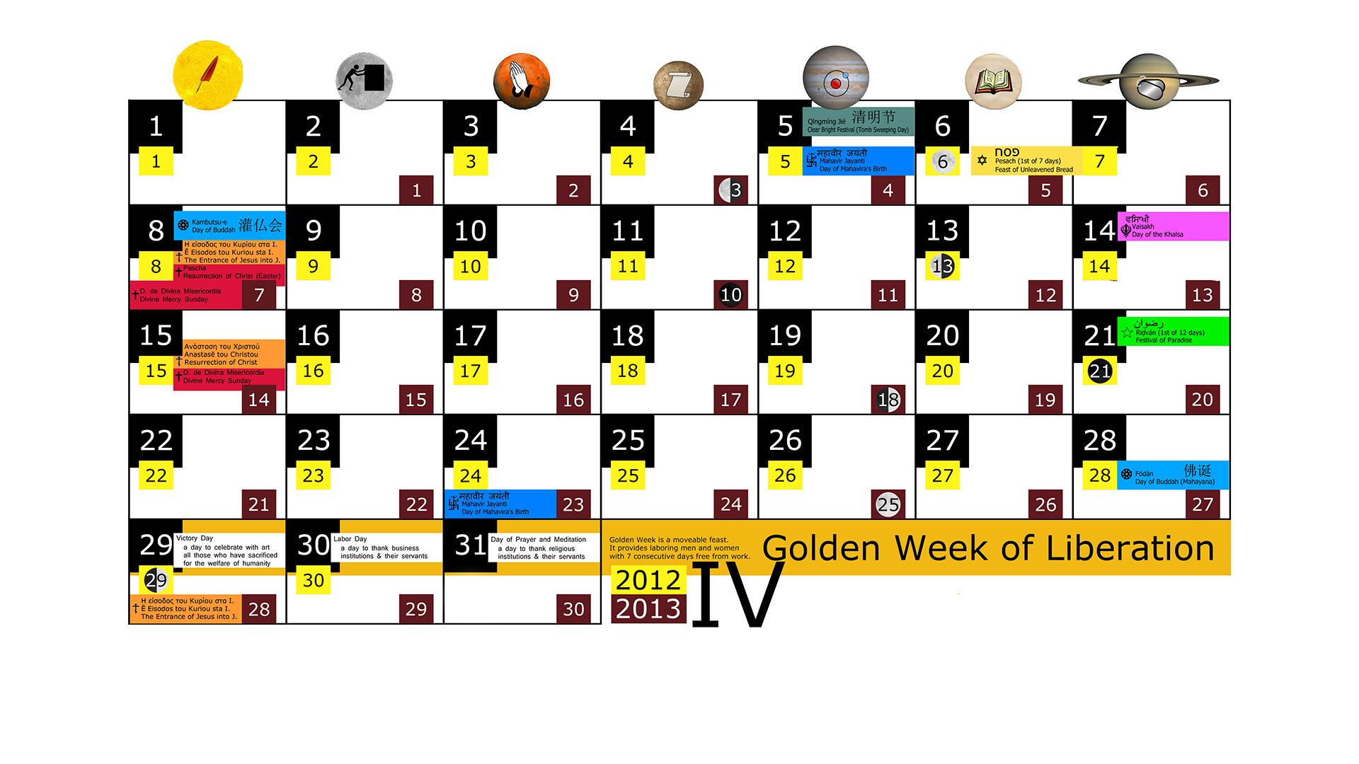 Miesięczny kalendarz świąt na kwiecień 2012 and 2013 na białym tle