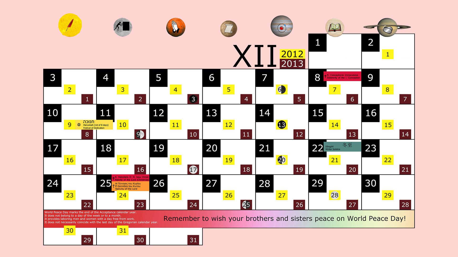 Miesięczny kalendarz świąt na grudzień 2012 and 2013 na różowym tle