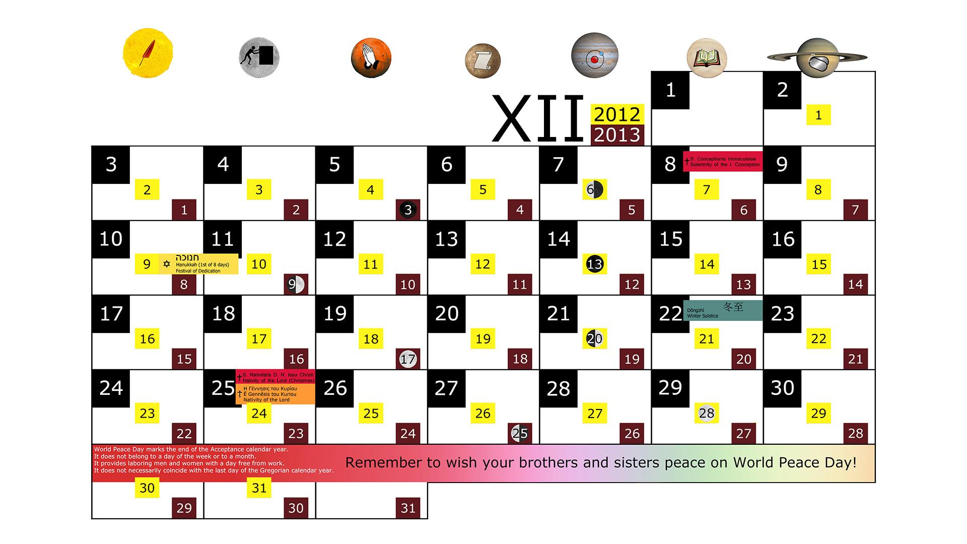 Miesięczny kalendarz świąt na grudzień 2012 and 2013 na białym tle