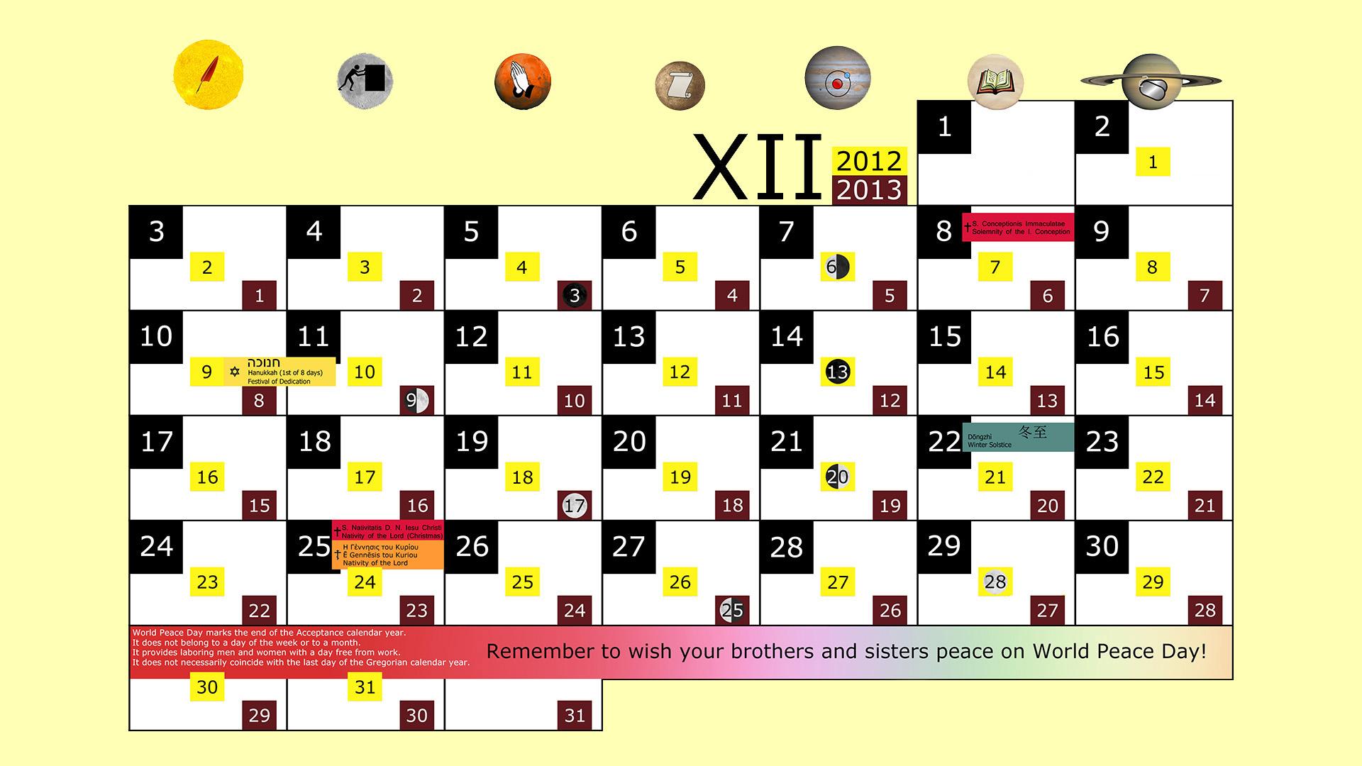 Miesięczny kalendarz świąt na grudzień 2012 and 2013 na żółtym tle