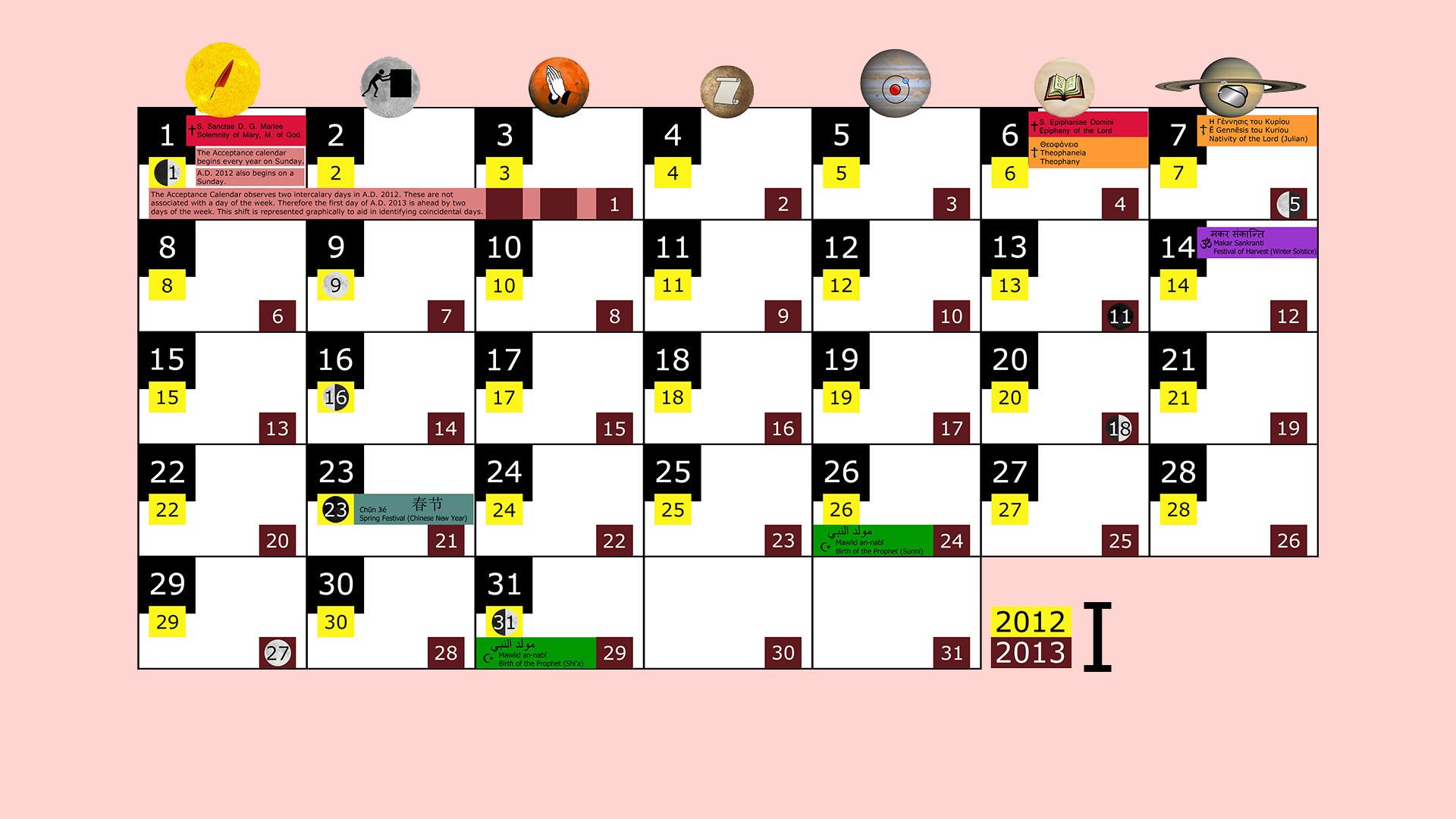 Miesięczny kalendarz świąt na styczeń 2012 and 2013 na różowym tle