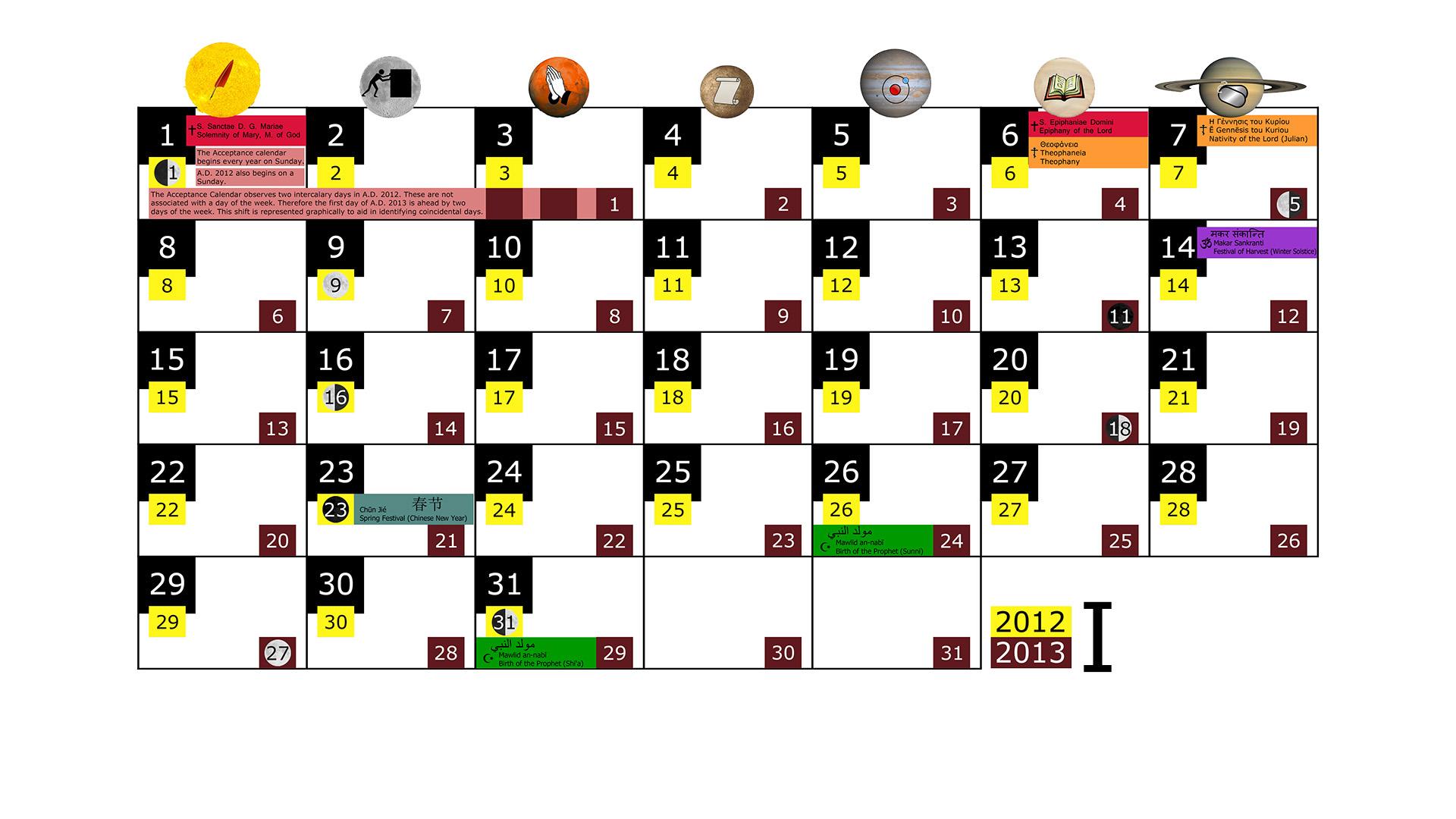 Miesięczny kalendarz świąt na styczeń 2012 and 2013 na białym tle