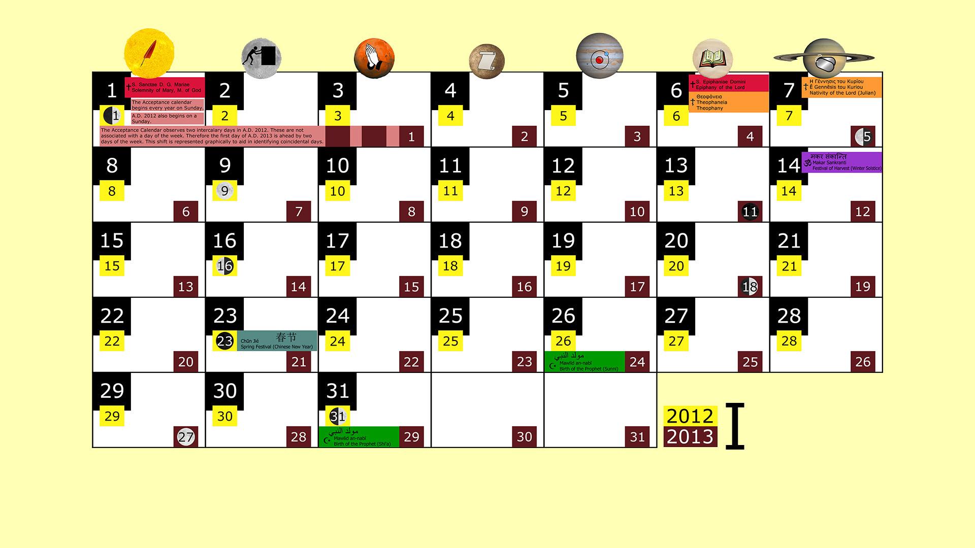 Miesięczny kalendarz świąt na styczeń 2012 and 2013 na żółtym tle