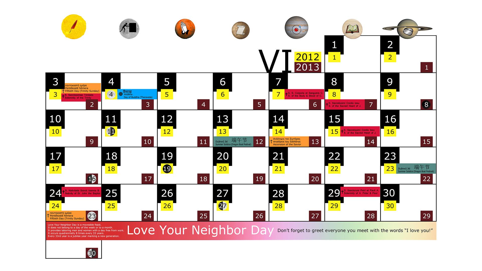 Miesięczny kalendarz świąt na czerwiec 2012 and 2013 na białym tle