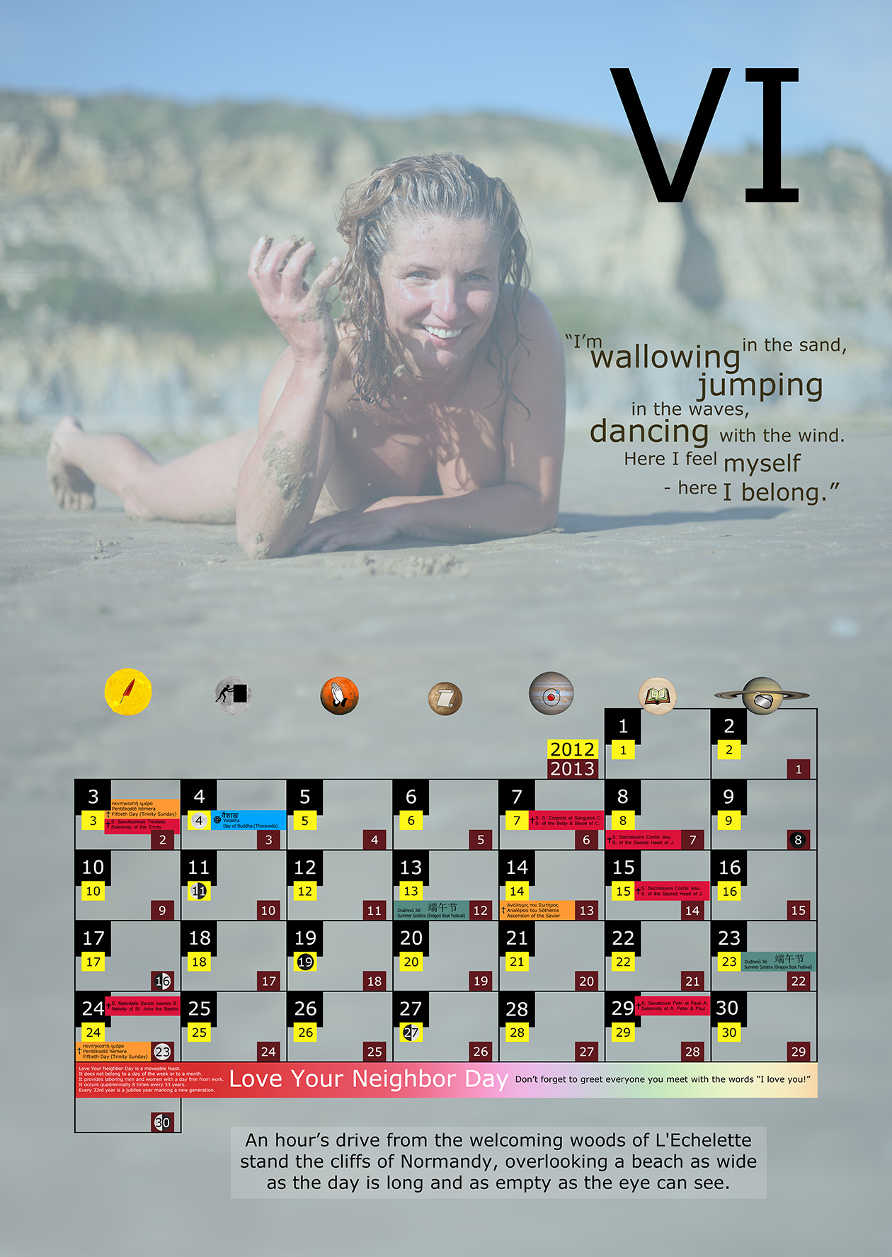 A monthly holiday calendar for June 2012 and 2013