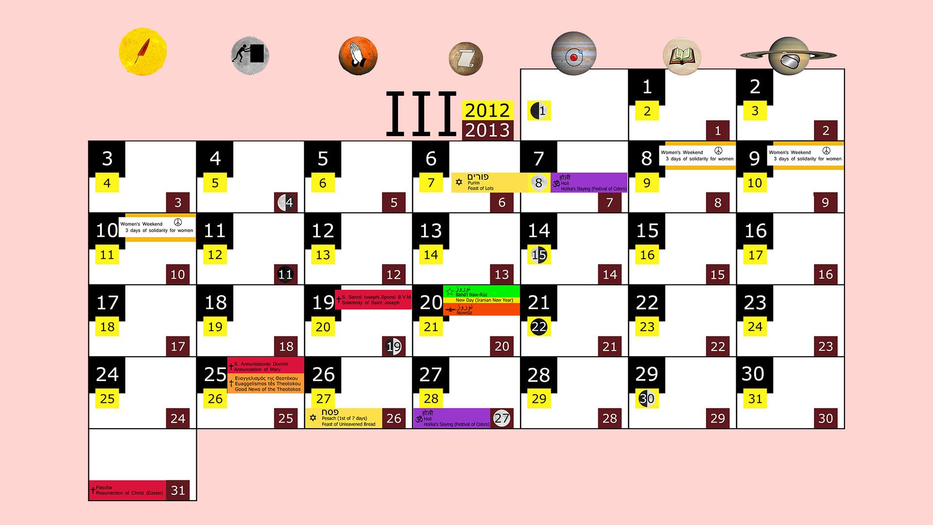 Miesięczny kalendarz świąt na marzec 2012 and 2013 na różowym tle