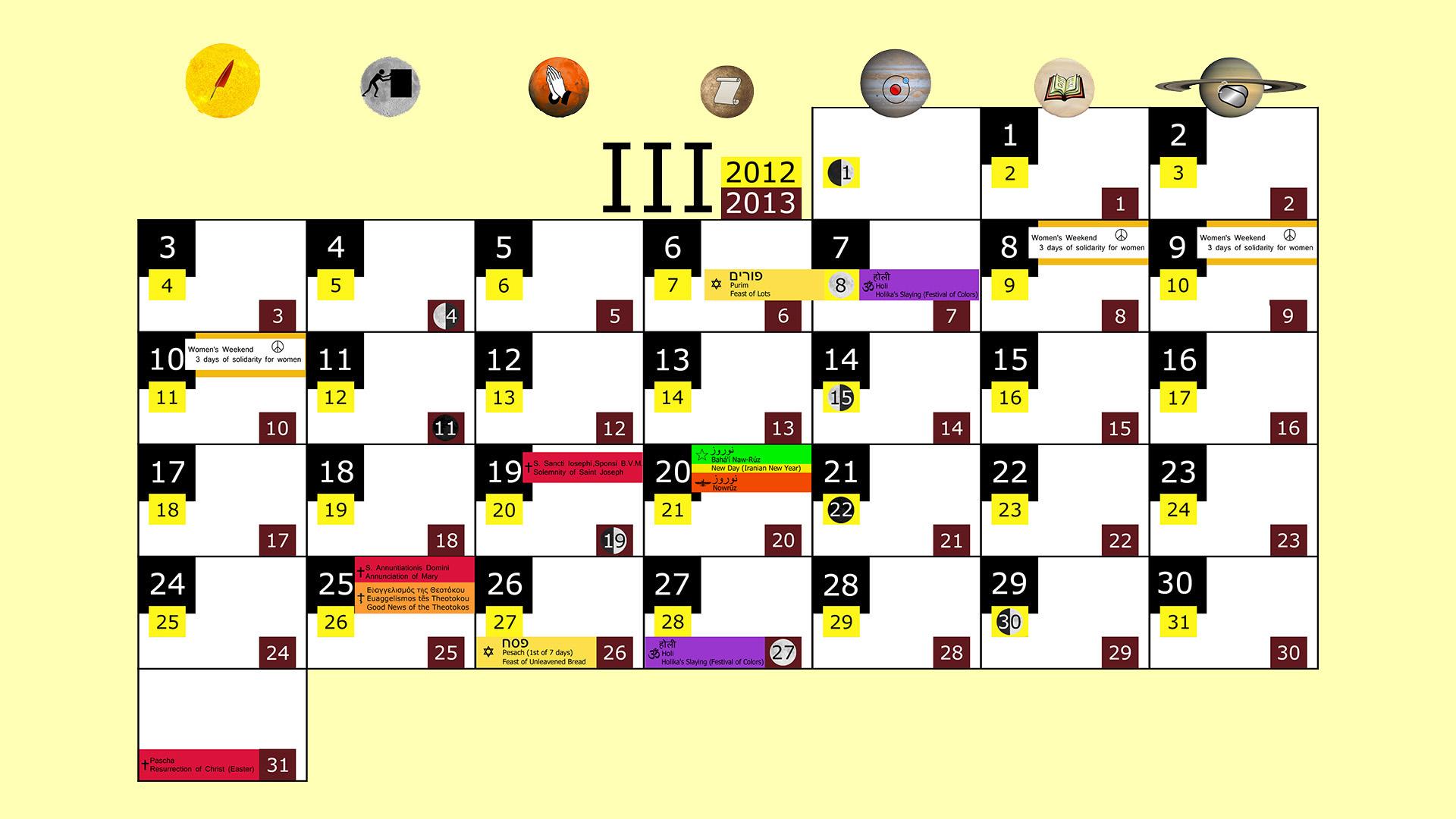 Miesięczny kalendarz świąt na marzec 2012 and 2013 na żółtym tle