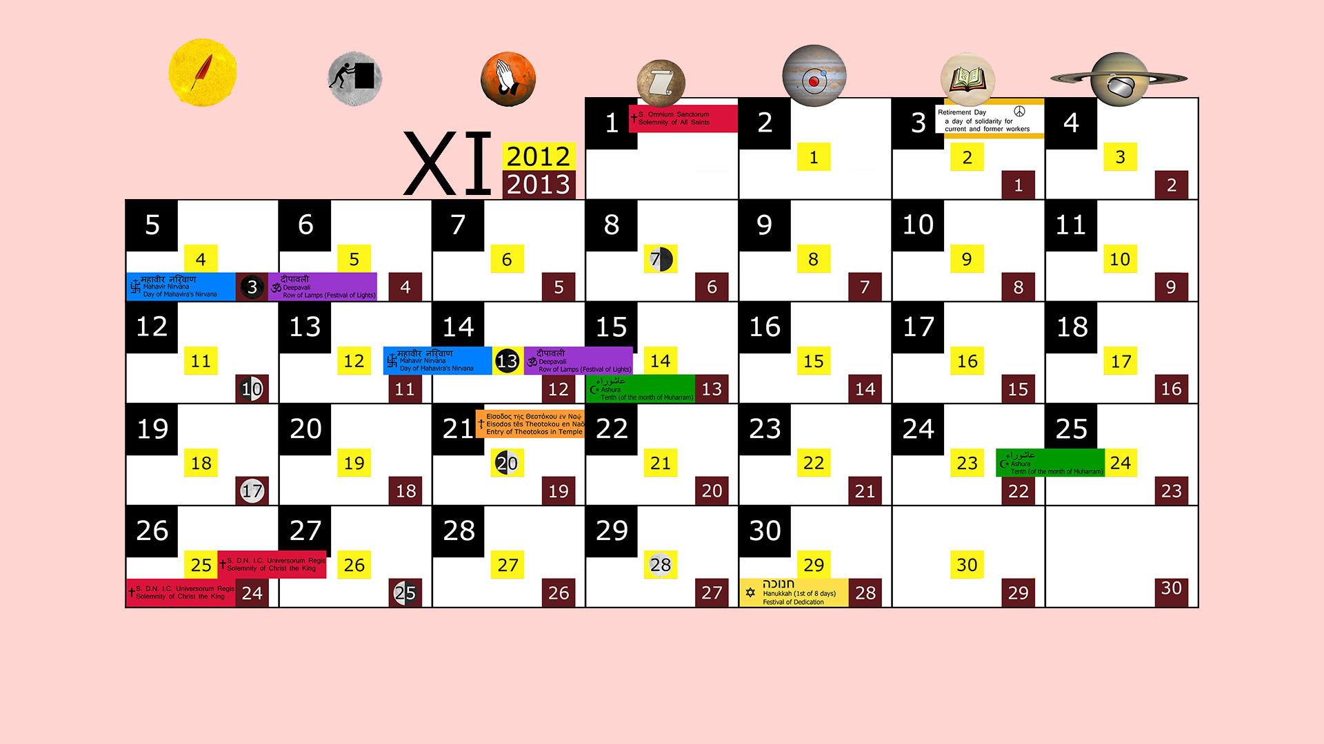 Miesięczny kalendarz świąt na listopad 2012 and 2013 na różowym tle
