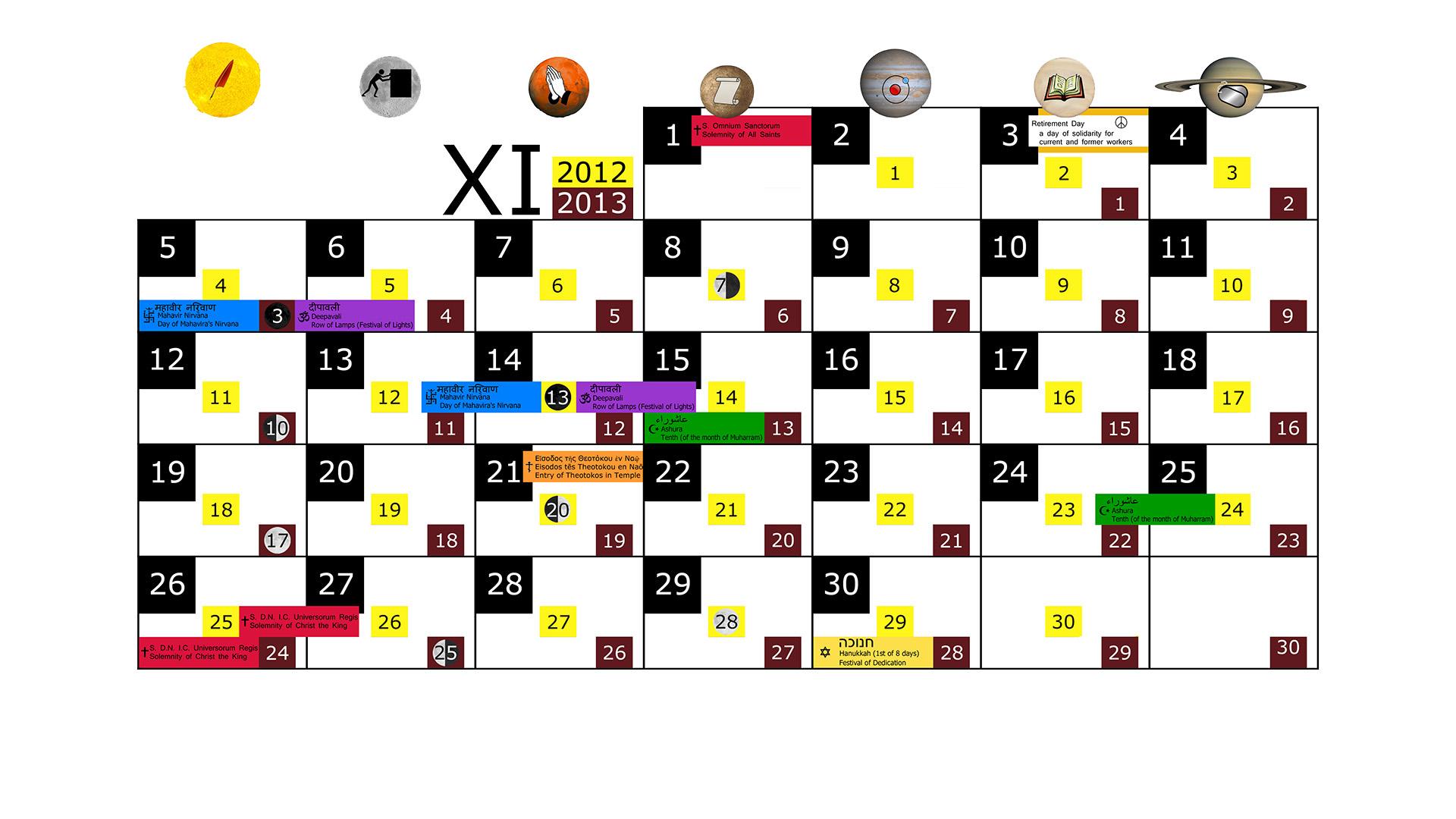 Miesięczny kalendarz świąt na listopad 2012 and 2013 na białym tle