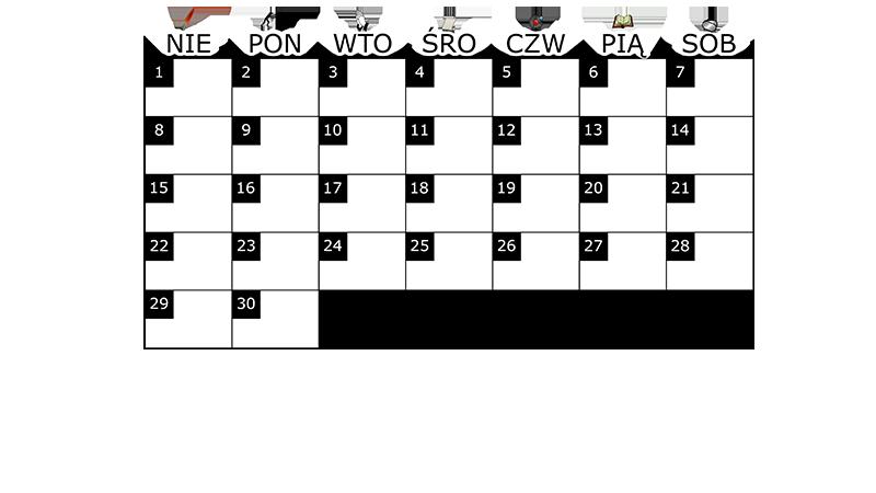 Szablon na miesięczny kalendarz na czerwiec 2014